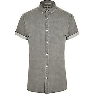 Grijs aansluitend denim overhemd met korte mouwen