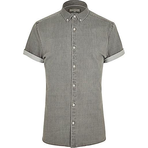 Grey short sleeve muscle fit denim shirt