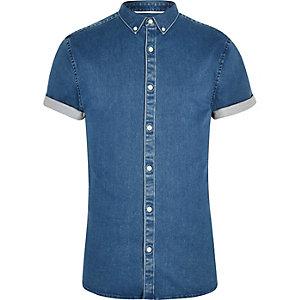 Blauw aansluitend denim overhemd met korte mouwen