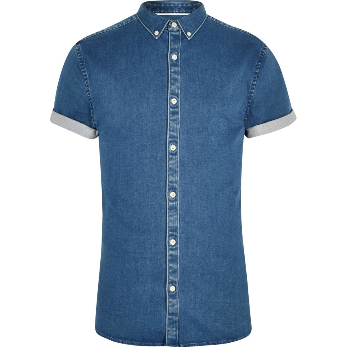 Blue short sleeve muscle fit denim shirt