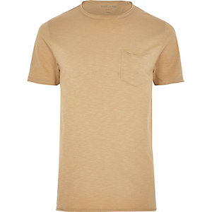 Brown slim fit raw cut pocket T-shirt