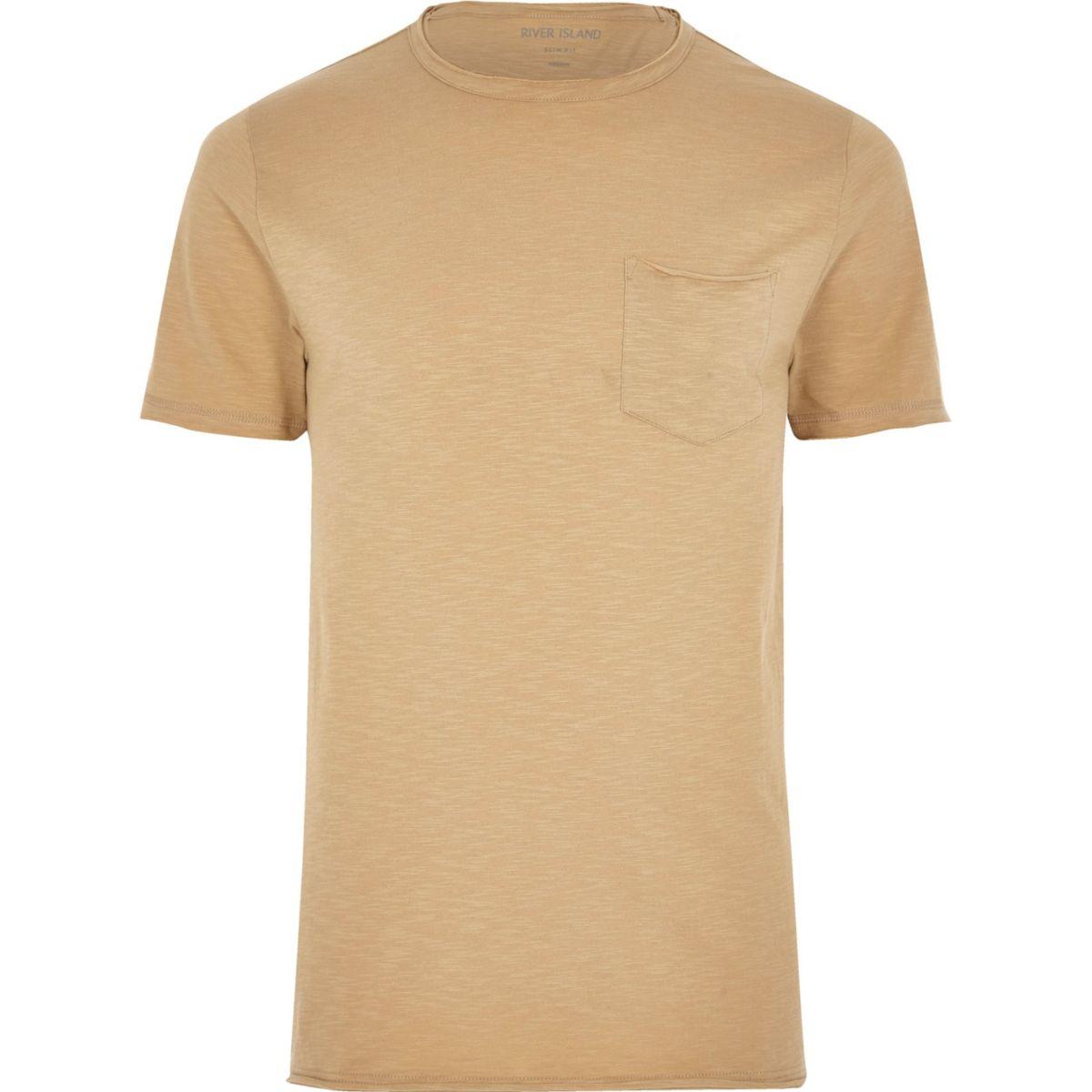 Brown slim fit raw cut pocket T-shirt