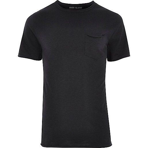 Black slim fit raw cut pocket T-shirt