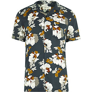 Marineblauw overhemd met reverskraag, korte mouwen en bloemenprint