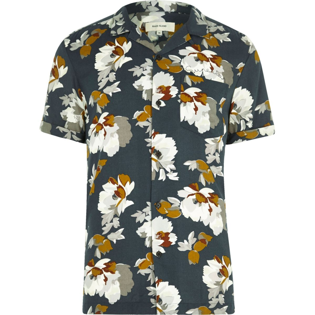 Navy floral print revere collar short sleeve