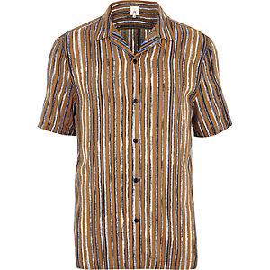 Senfgelbes, kurzärmliges Hemd
