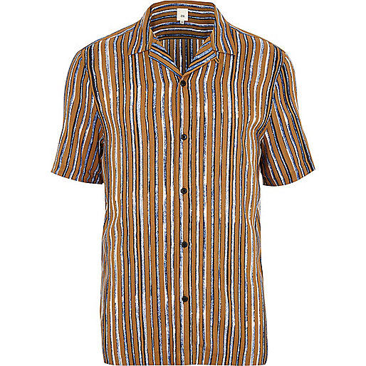 Mustard yellow stripe short sleeve shirt