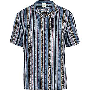 Blue aztec print revere short sleeve shirt