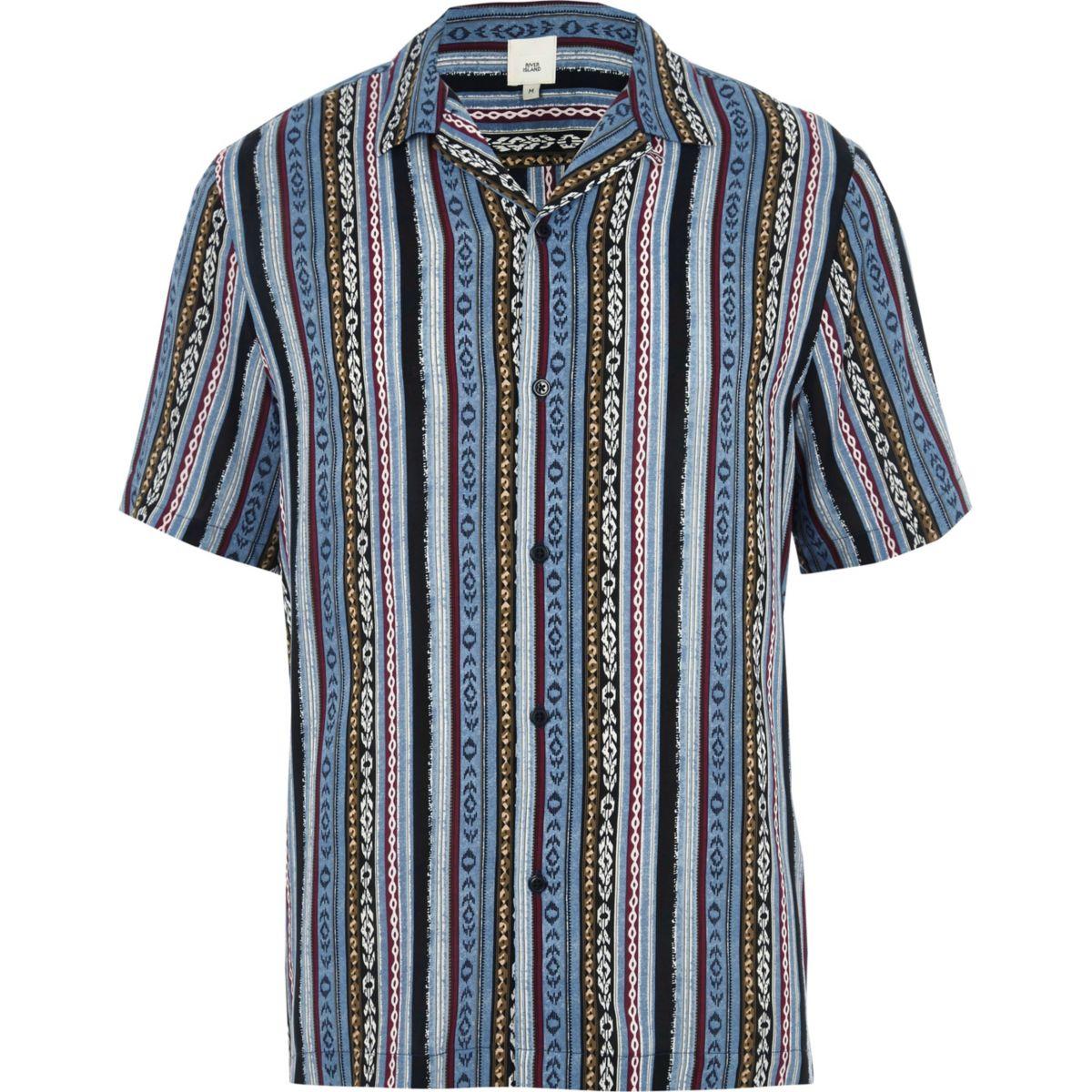 Chemise imprimé aztèque bleue à manches courtes