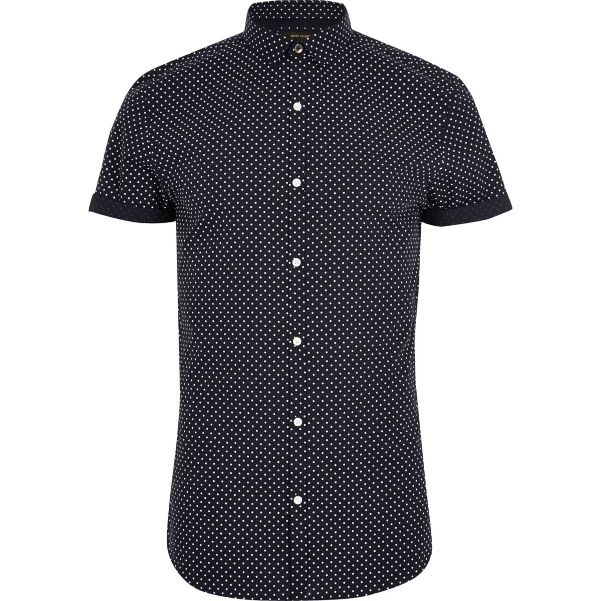 Navy polka dot short sleeve slim fit shirt shirts sale for Mens polka dot shirt short sleeve