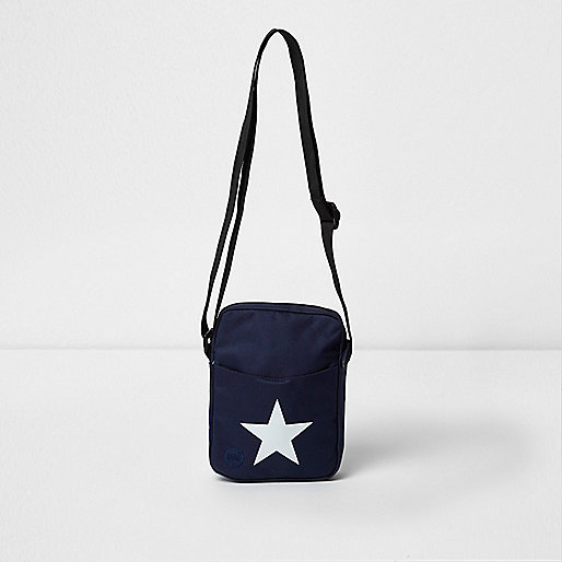 Navy Mi-Pac star print cross body flight bag