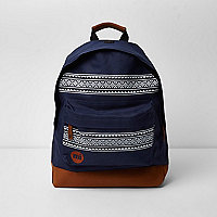 Navy Mi-Pac Aztec print backpack