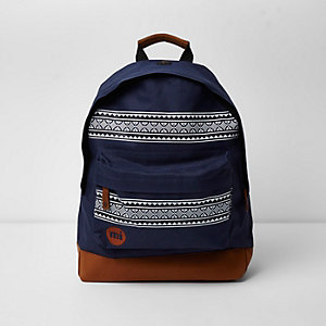 Navy Mi-Pac Aztec print backpack