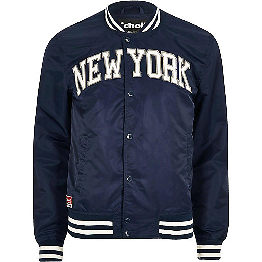 Blue Schott 'New York' bomber jacket