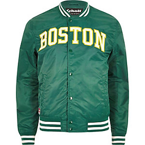 Green Schott 'Boston' bomber jacket