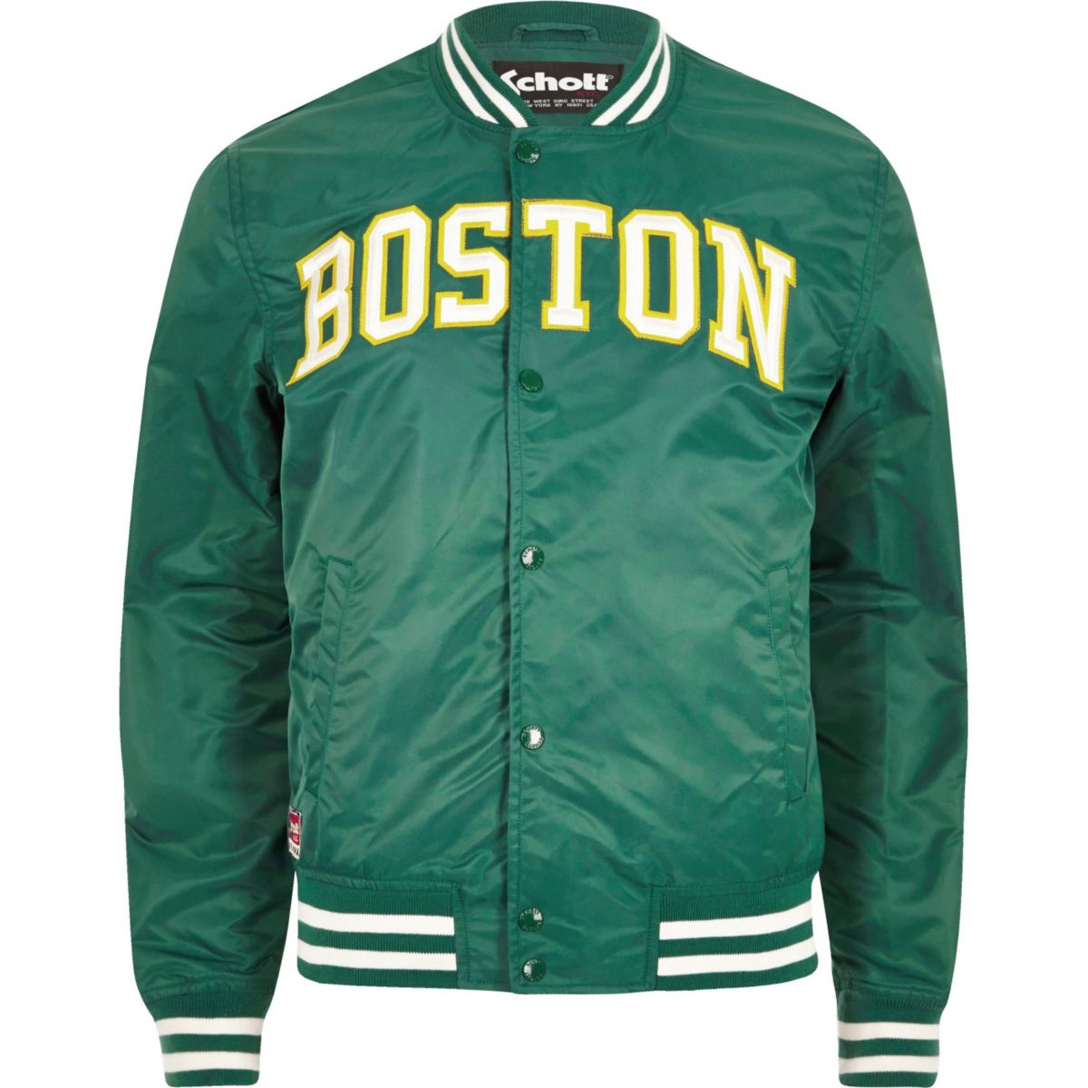 Green Schott 'Boston' bomber jacket