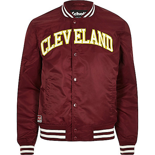 Dark red Schott 'Cleveland' bomber jacket