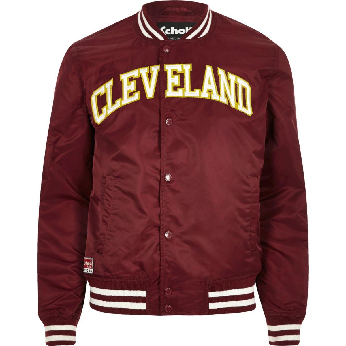 Dark red Schott 'Cleveland' bomber jacket