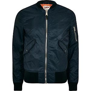 Navy Schott bomber jacket