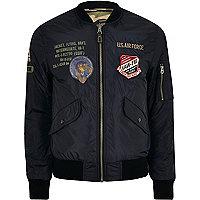 Navy Schott badge reversible bomber jacket