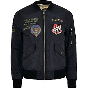 Navy Schott badge reversible bomber jacket