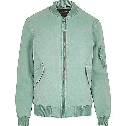 Light blue washed bomber jacket