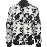 Grey tie dye bomber jacket