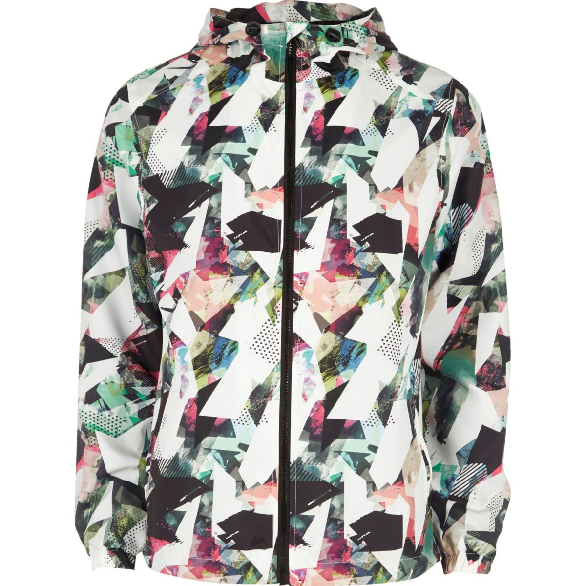 Blue abstract print hooded jacket