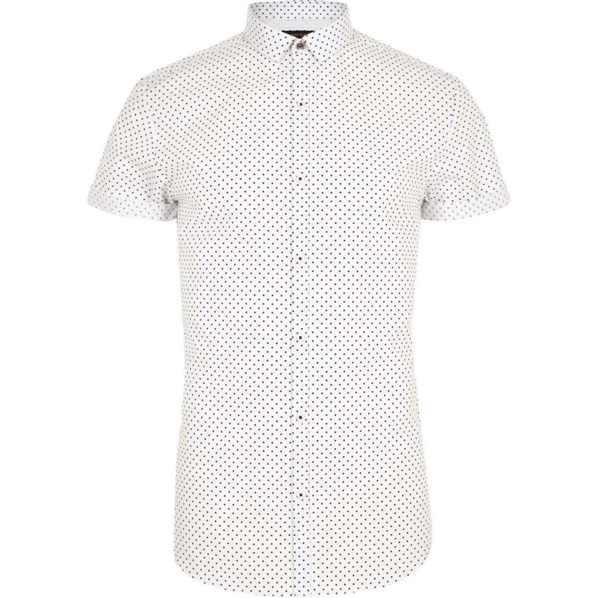 White polka dot short sleeve slim fit shirt