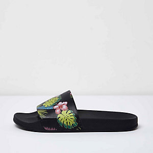 Black floral sliders