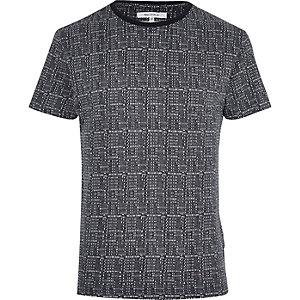 Bellfield – Marineblaues T-Shirt mit Punkten