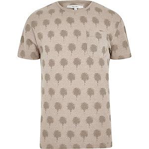 Bellfield – Steingraues T-Shirt mit Rundhalsausschnitt