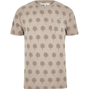 Stone Bellfield palm print crew neck T-shirt