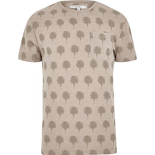 Stone Bellfield palm print crew neck T-shirt