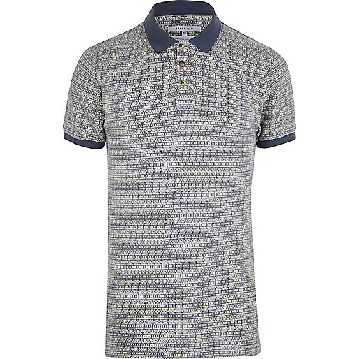 Blue Bellfield aztec print polo shirt