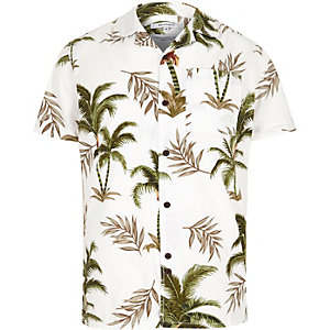 White Bellfield palm print short sleeve shirt