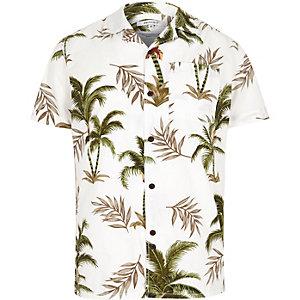 White Bellfield palm print short sleeve shirt