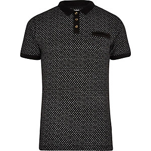 Black Bellfield dotted polo shirt