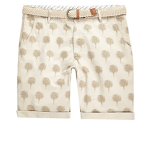 Stone Bellfield palm print shorts