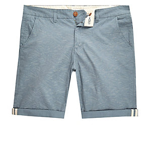 Light blue Bellfield contrast print shorts