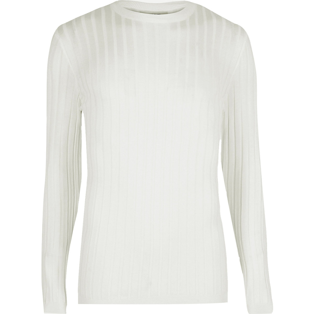 White ribbed muscle fit sweater