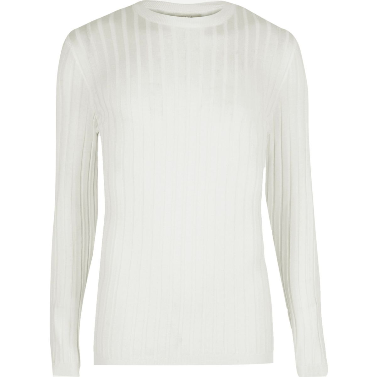 White ribbed muscle fit jumper