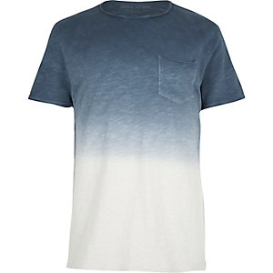Blue slub dip dye slim fit T-shirt