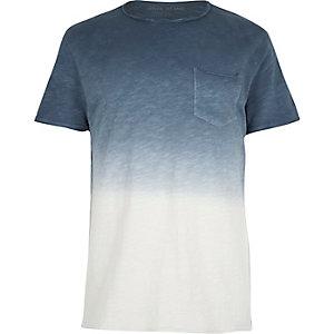 T-shirt bleu effet tie-dye avec poche à bords bruts