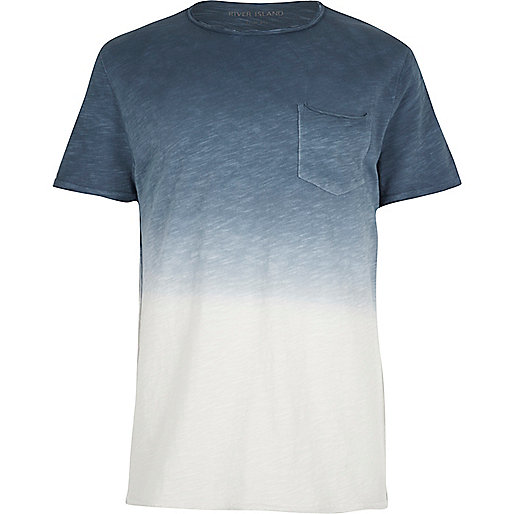 Blue dip dye raw cut pocket T-shirt