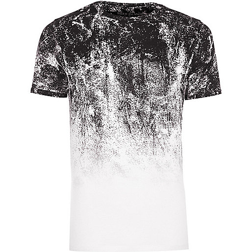 Big and Tall white glitch fade T-shirt