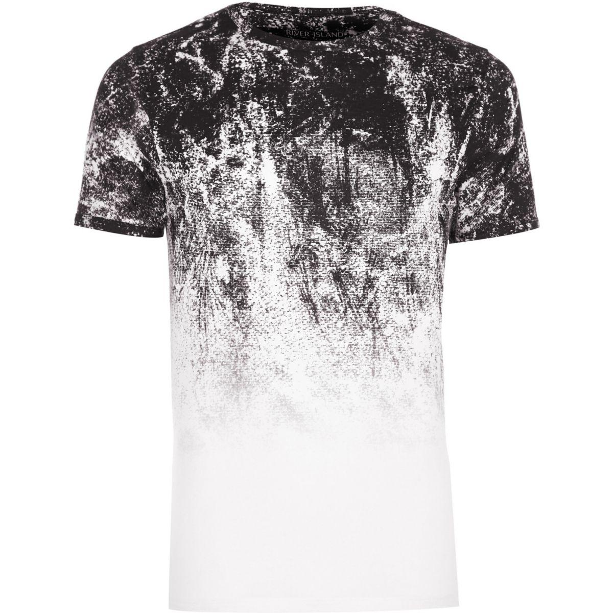 Big and Tall white glitch fade T-shirt
