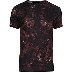 RI Big and Tall - Zwart T-shirt met geometrische en bloemenprint