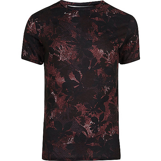 Big and Tall black floral geo print T-shirt