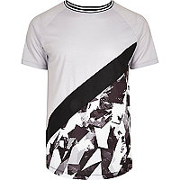 Grey abstract print panel slim fit T-shirt